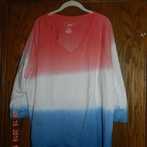 Women's Sonoma Red/White/Blue V Neck Sweatshirt